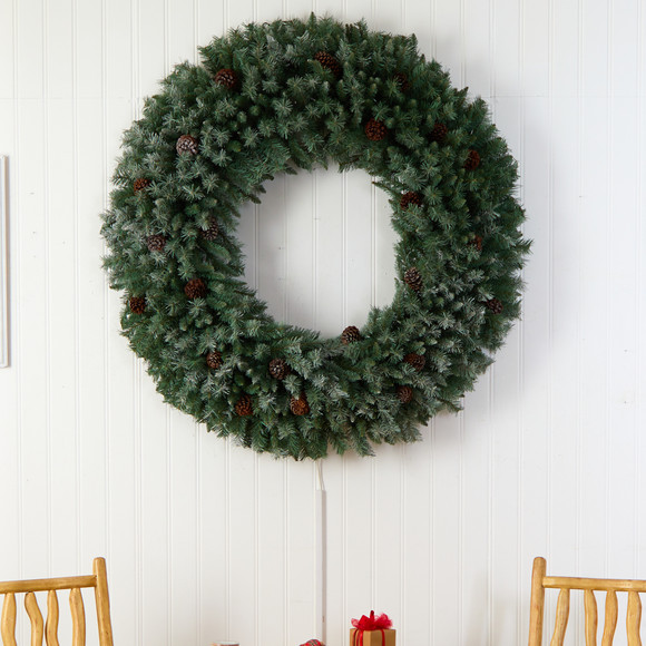 5 Giant Flocked Christmas Wreath with Pinecones 400 Clear LED Lights and 760 Bendable Branches - SKU #W1281 - 3