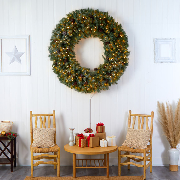 5 Giant Flocked Christmas Wreath with Pinecones 400 Clear LED Lights and 760 Bendable Branches - SKU #W1281 - 4