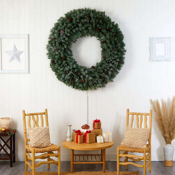 5 Giant Flocked Christmas Wreath with Pinecones 400 Clear LED Lights and 760 Bendable Branches - SKU #W1281 - 5