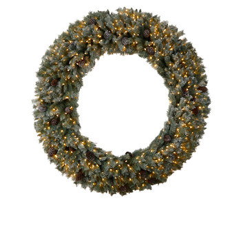 6 Giant Flocked Christmas Wreath with Pinecones 600 Clear LED Lights and 1000 Bendable Branches - SKU #W1282
