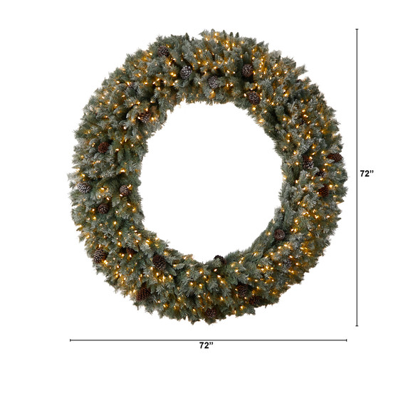 6 Giant Flocked Christmas Wreath with Pinecones 600 Clear LED Lights and 1000 Bendable Branches - SKU #W1282 - 1