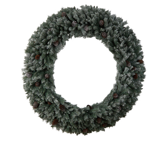 6 Giant Flocked Christmas Wreath with Pinecones 600 Clear LED Lights and 1000 Bendable Branches - SKU #W1282 - 2