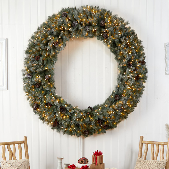 6 Giant Flocked Christmas Wreath with Pinecones 600 Clear LED Lights and 1000 Bendable Branches - SKU #W1282 - 3