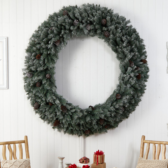 6 Giant Flocked Christmas Wreath with Pinecones 600 Clear LED Lights and 1000 Bendable Branches - SKU #W1282 - 4
