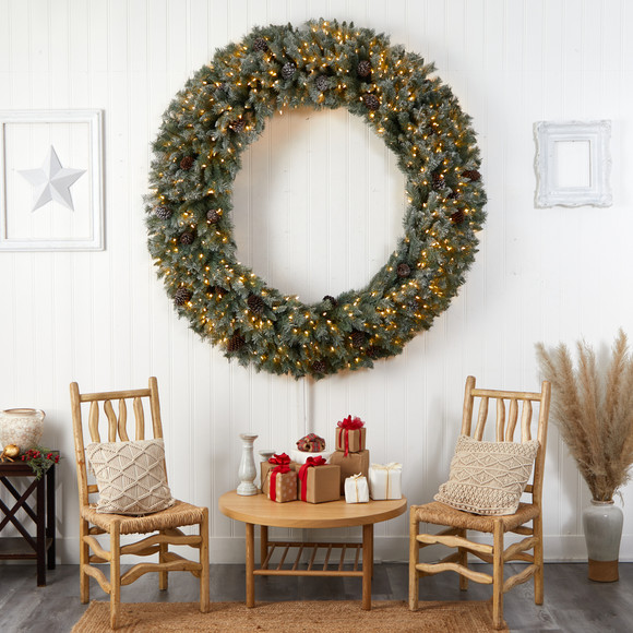 6 Giant Flocked Christmas Wreath with Pinecones 600 Clear LED Lights and 1000 Bendable Branches - SKU #W1282 - 5