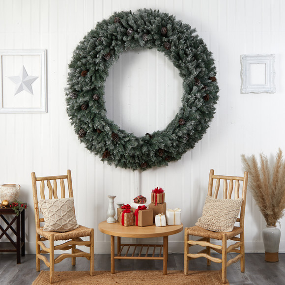 6 Giant Flocked Christmas Wreath with Pinecones 600 Clear LED Lights and 1000 Bendable Branches - SKU #W1282 - 6
