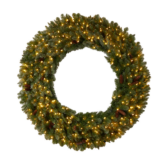 5 Flocked Artificial Christmas Wreath with Pinecones 300 Clear LED Lights and 680 Bendable Branches - SKU #W1284