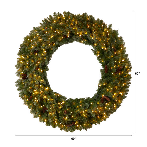 5 Flocked Artificial Christmas Wreath with Pinecones 300 Clear LED Lights and 680 Bendable Branches - SKU #W1284 - 1