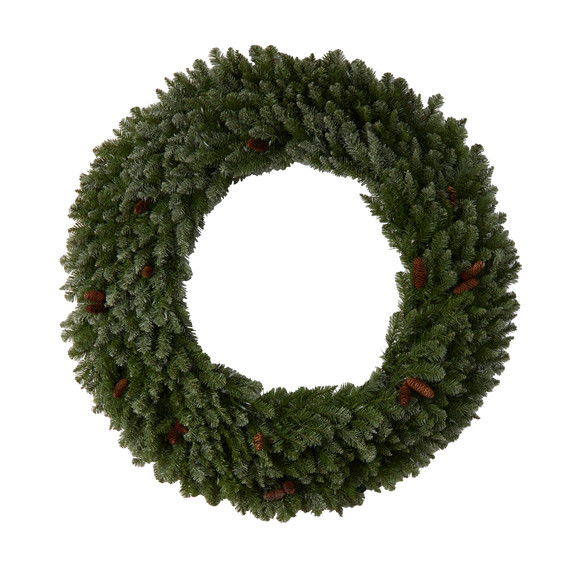 5 Flocked Artificial Christmas Wreath with Pinecones 300 Clear LED Lights and 680 Bendable Branches - SKU #W1284 - 2