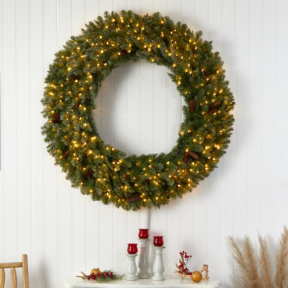 5 Flocked Artificial Christmas Wreath with Pinecones 300 Clear LED Lights and 680 Bendable Branches - SKU #W1284 - 3