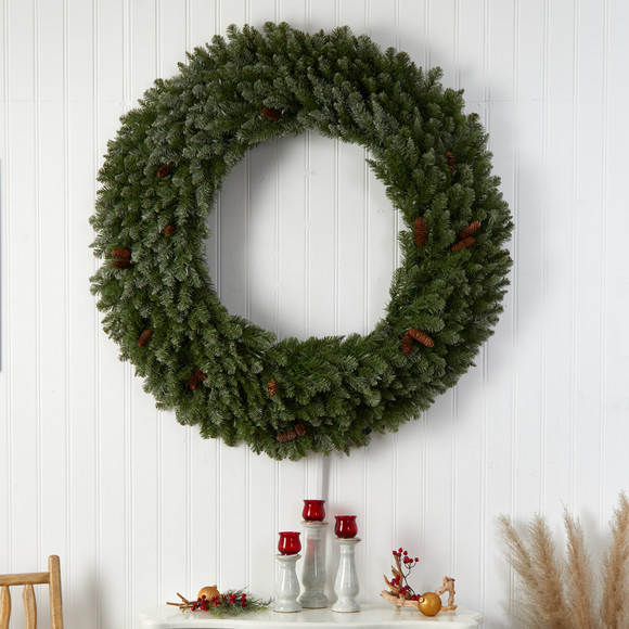 5 Flocked Artificial Christmas Wreath with Pinecones 300 Clear LED Lights and 680 Bendable Branches - SKU #W1284 - 4