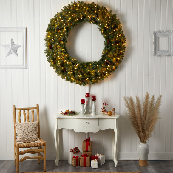5 Flocked Artificial Christmas Wreath with Pinecones 300 Clear LED Lights and 680 Bendable Branches - SKU #W1284 - 5