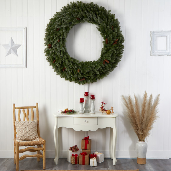 5 Flocked Artificial Christmas Wreath with Pinecones 300 Clear LED Lights and 680 Bendable Branches - SKU #W1284 - 6