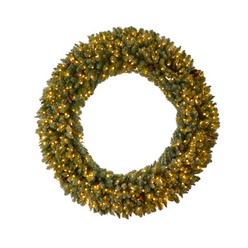 6 Giant Flocked Christmas Wreath with Pinecones 400 Clear LED Lights and 920 Bendable Branches - SKU #W1285