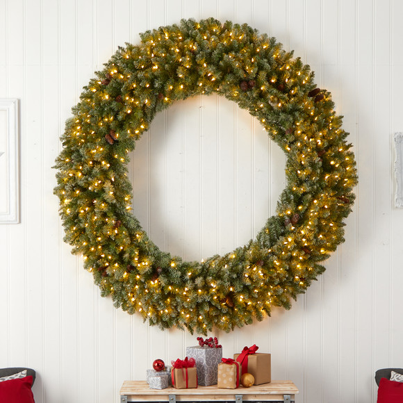 6 Giant Flocked Christmas Wreath with Pinecones 400 Clear LED Lights and 920 Bendable Branches - SKU #W1285 - 3