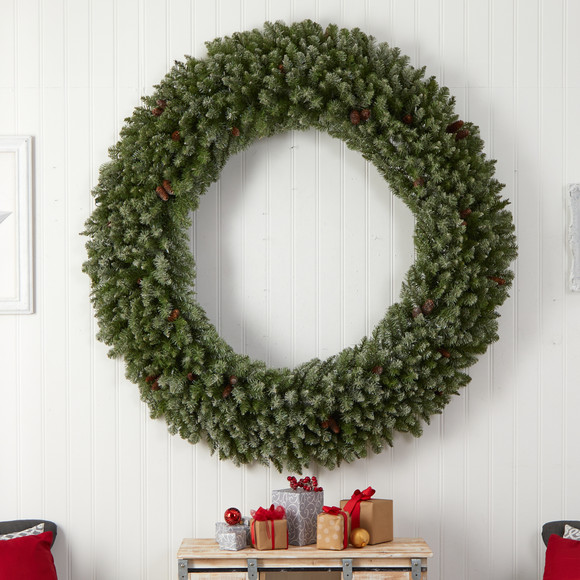 6 Giant Flocked Christmas Wreath with Pinecones 400 Clear LED Lights and 920 Bendable Branches - SKU #W1285 - 4