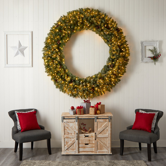 6 Giant Flocked Christmas Wreath with Pinecones 400 Clear LED Lights and 920 Bendable Branches - SKU #W1285 - 5