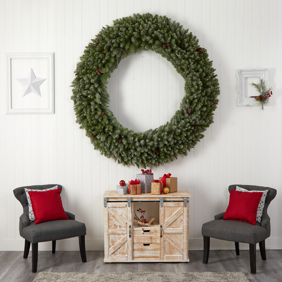 6 Giant Flocked Christmas Wreath with Pinecones 400 Clear LED Lights and 920 Bendable Branches - SKU #W1285 - 6