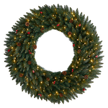 4 Large Flocked Wreath with Pinecones Berries 150 Clear LED Lights and 400 Bendable Branches - SKU #W1286