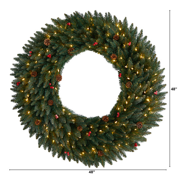 4 Large Flocked Wreath with Pinecones Berries 150 Clear LED Lights and 400 Bendable Branches - SKU #W1286 - 1