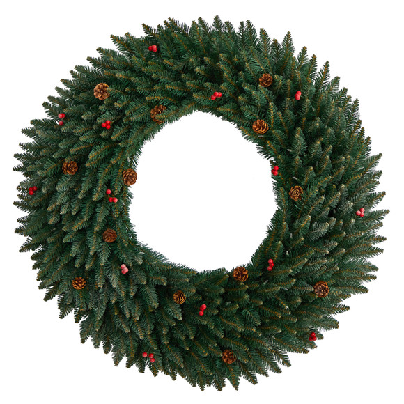 4 Large Flocked Wreath with Pinecones Berries 150 Clear LED Lights and 400 Bendable Branches - SKU #W1286 - 2