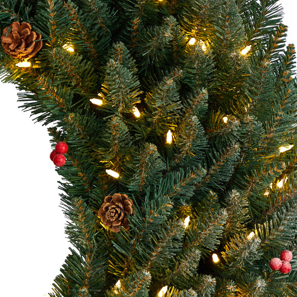 4 Large Flocked Wreath with Pinecones Berries 150 Clear LED Lights and 400 Bendable Branches - SKU #W1286 - 3