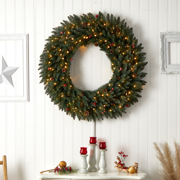 4 Large Flocked Wreath with Pinecones Berries 150 Clear LED Lights and 400 Bendable Branches - SKU #W1286 - 5