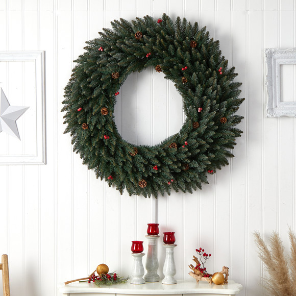 4 Large Flocked Wreath with Pinecones Berries 150 Clear LED Lights and 400 Bendable Branches - SKU #W1286 - 6