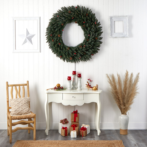 4 Large Flocked Wreath with Pinecones Berries 150 Clear LED Lights and 400 Bendable Branches - SKU #W1286 - 8