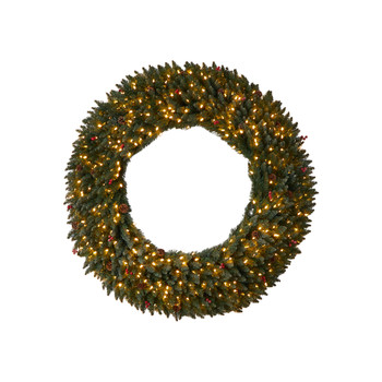 5 Large Flocked Wreath with Pinecones Berries 400 Clear LED Lights and 820 Bendable Branches - SKU #W1287