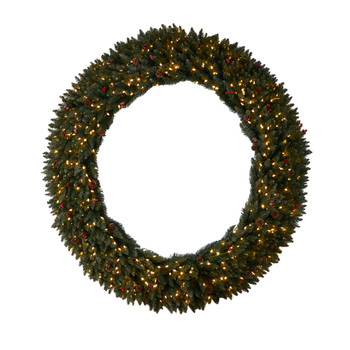 6 Large Flocked Wreath with Pinecones Berries 600 Clear LED Lights and 1080 Bendable Branches - SKU #W1288