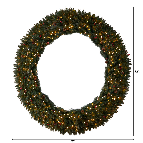 6 Large Flocked Wreath with Pinecones Berries 600 Clear LED Lights and 1080 Bendable Branches - SKU #W1288 - 1