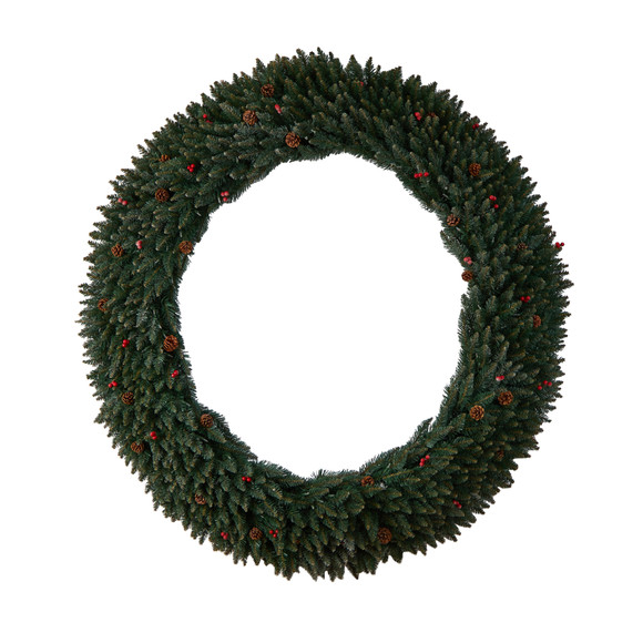 6 Large Flocked Wreath with Pinecones Berries 600 Clear LED Lights and 1080 Bendable Branches - SKU #W1288 - 2