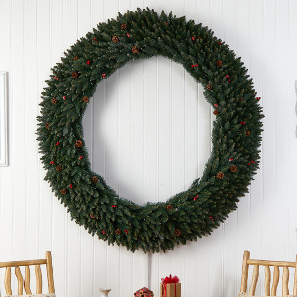 6 Large Flocked Wreath with Pinecones Berries 600 Clear LED Lights and 1080 Bendable Branches - SKU #W1288 - 4