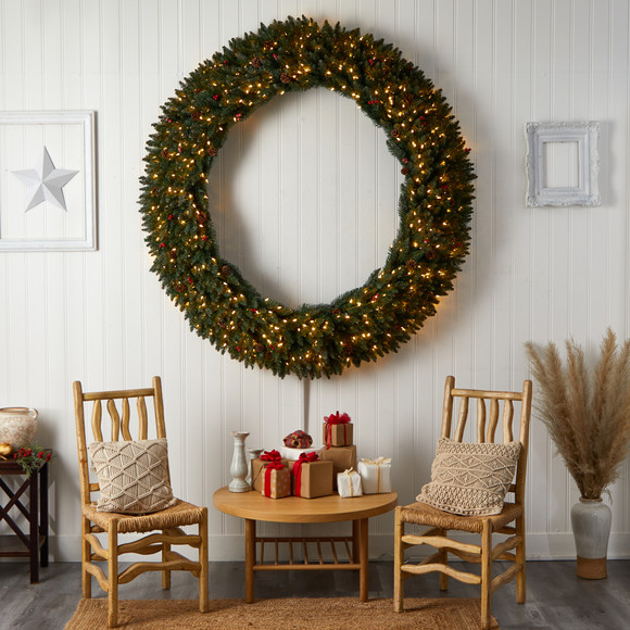 6 Large Flocked Wreath with Pinecones Berries 600 Clear LED Lights and 1080 Bendable Branches - SKU #W1288 - 5