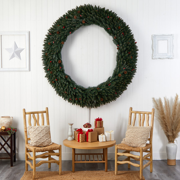 6 Large Flocked Wreath with Pinecones Berries 600 Clear LED Lights and 1080 Bendable Branches - SKU #W1288 - 6