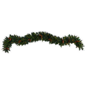 9 Mixed Pines and Pinecones Extra Wide Garland with 286 Branches and 70 Warm White LED Lights - SKU #W1289