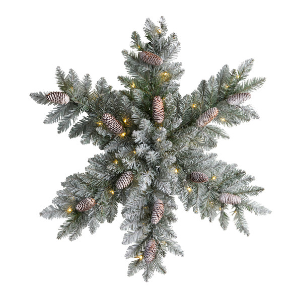 30 Pre-Lit Flocked Snowflake Artificial Dunhill Fir Wreath with Pinecones and 40 LED Lights - SKU #W1291