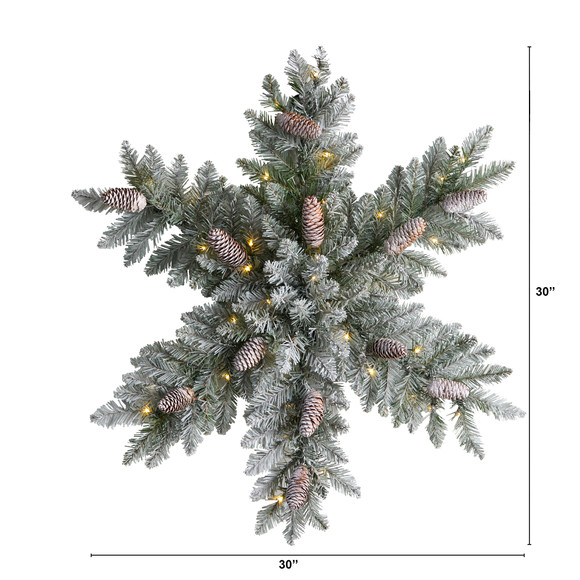 30 Pre-Lit Flocked Snowflake Artificial Dunhill Fir Wreath with Pinecones and 40 LED Lights - SKU #W1291 - 1