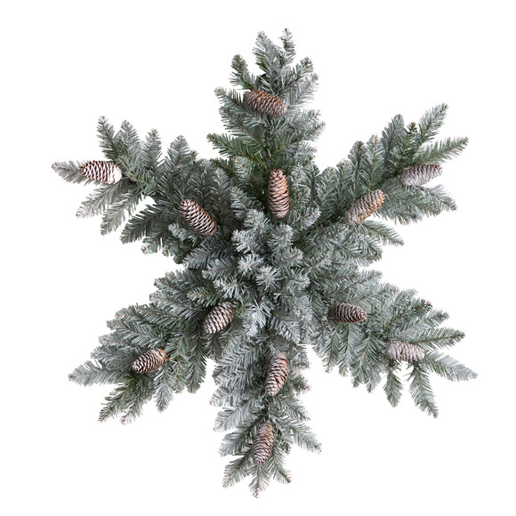 30 Pre-Lit Flocked Snowflake Artificial Dunhill Fir Wreath with Pinecones and 40 LED Lights - SKU #W1291 - 2