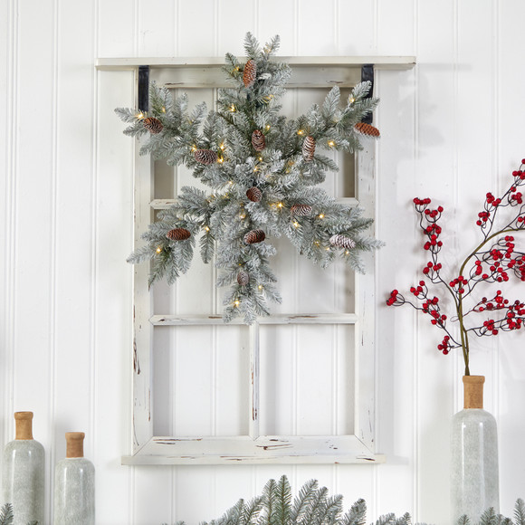30 Pre-Lit Flocked Snowflake Artificial Dunhill Fir Wreath with Pinecones and 40 LED Lights - SKU #W1291 - 3
