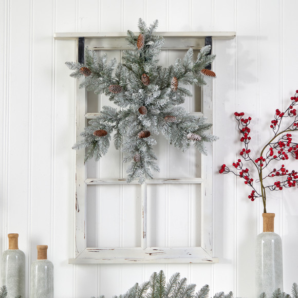 30 Pre-Lit Flocked Snowflake Artificial Dunhill Fir Wreath with Pinecones and 40 LED Lights - SKU #W1291 - 4