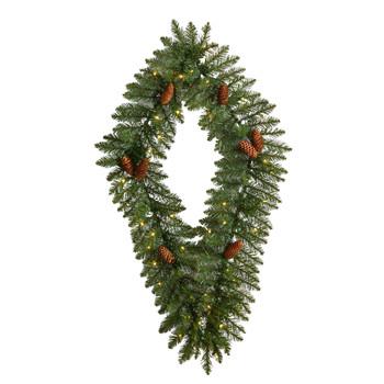 3 Holiday Christmas Geometric Diamond Wreath with Pinecones and 50 Warm White LED Lights - SKU #W1292