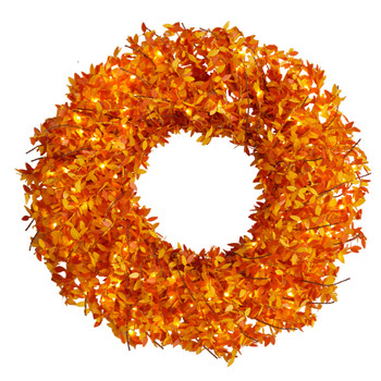 24 Harvest Fall Pre-Lit Wreath with 100 Micro Dot LED lightss - SKU #W1297