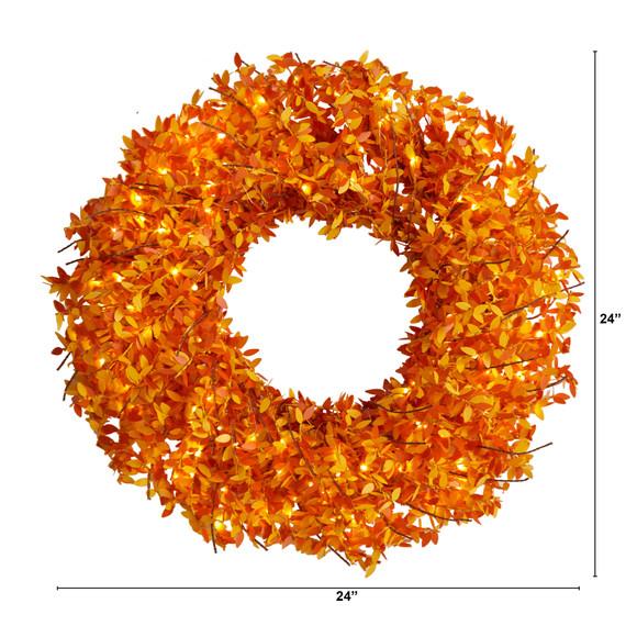 24 Harvest Fall Pre-Lit Wreath with 100 Micro Dot LED lightss - SKU #W1297 - 1