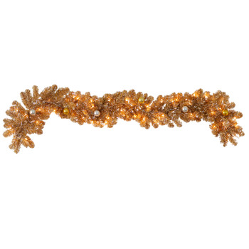 6 Holiday Christmas Golden Garland with Ornaments and 50 Warm White Lights - SKU #W1300