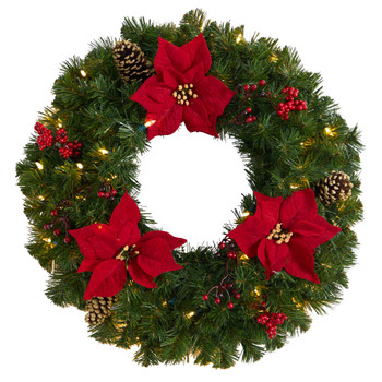 24 Poinsettia Berry and Pinecone Artificial Wreath with 50 Warm White LED Lights - SKU #W1301