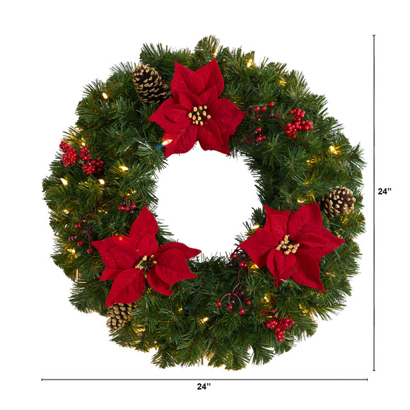 24 Poinsettia Berry and Pinecone Artificial Wreath with 50 Warm White LED Lights - SKU #W1301 - 1