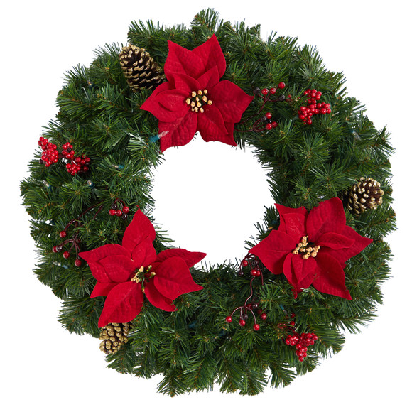 24 Poinsettia Berry and Pinecone Artificial Wreath with 50 Warm White LED Lights - SKU #W1301 - 2