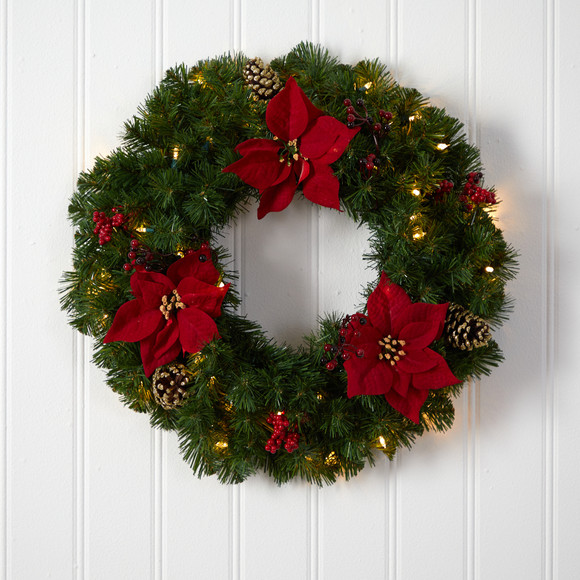 24 Poinsettia Berry and Pinecone Artificial Wreath with 50 Warm White LED Lights - SKU #W1301 - 3